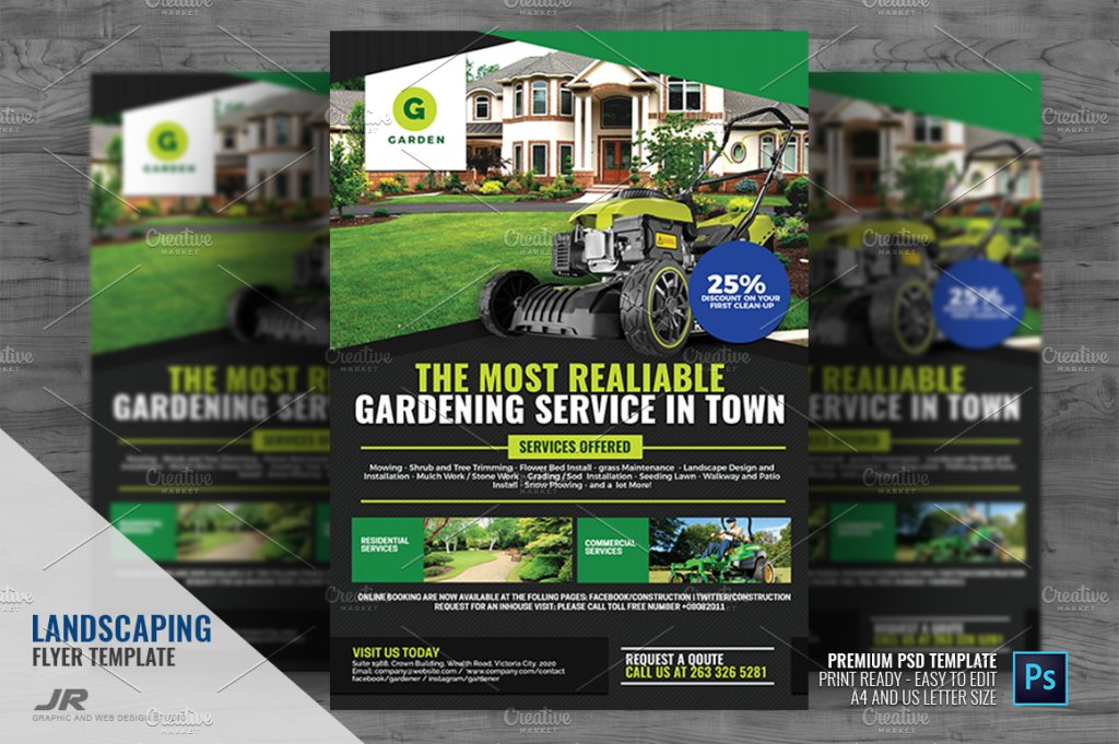 Landscaping And Lawn Cleaning Flyer Flyer Templates Creative Market