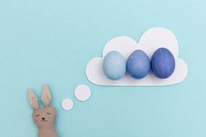 Easter bunny dreaming of easter eggs