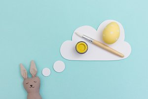 Bunny dreaming of painting eggs