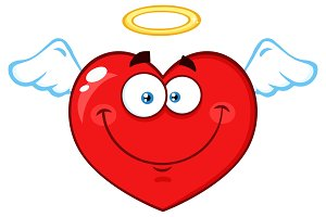 Angel Red Heart Cartoon Character