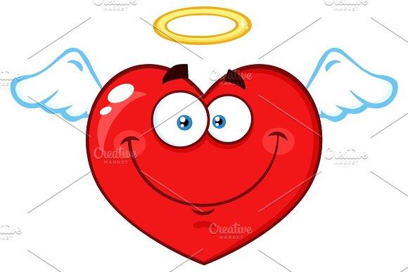 Angel Red Heart Cartoon Character