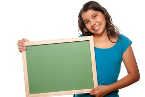 Girl Holding Blank Chalk Board