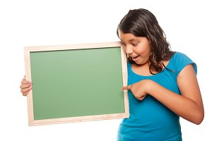 Girl Holding Blank Chalk Board