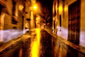 Wet narrow street