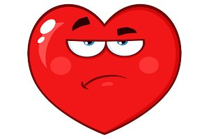 Red Heart With Grumpy Expression