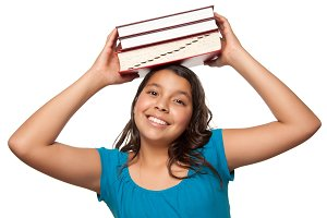 Girl with Books on Head Isolated