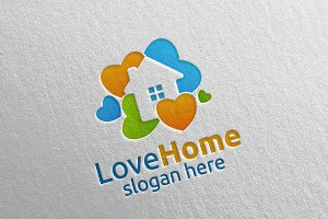 Love Home Logo, Colorful House Logo
