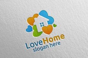Love Home Logo, Colorful House Logo