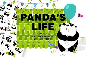Panda's life - set with cute pandas