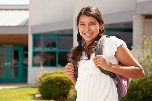 Hispanic Teen Girl Student At School