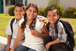 Hispanic Brothers & Sister At School