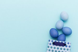 Blue easter eggs in gift bag