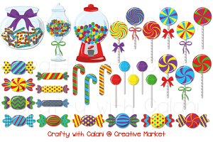Cute Candy Clipart in Vibrant Color
