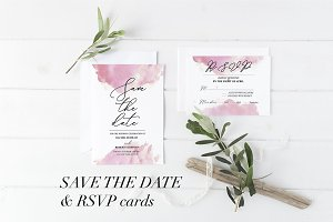 Watercolor Save the date, RSVP cards