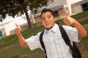 Hispanic School Boy with Thumbs Up