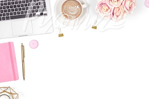 Pretty Desk Styled Stock Photo