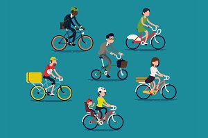 Flat Characters: Bicycle People