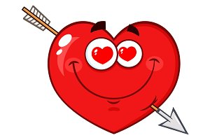 Loving Red Heart Cartoon Character