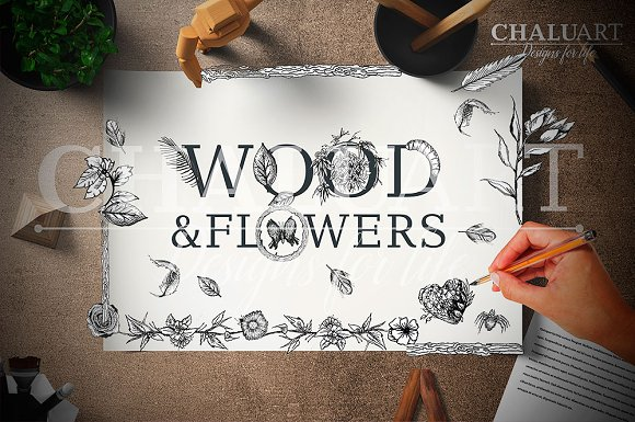 FOREST WOOD FLOWERS Illustrations