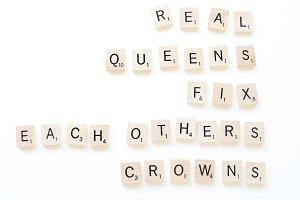 Real Queens Scrabble Tiles