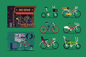 Bicycle Repair Shop + Bicycles