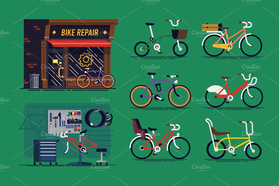 Bicycle Repair Shop + Bicycles ~ Illustrations ~ Creative Market
