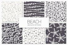 Beach. Seamless Patterns Set