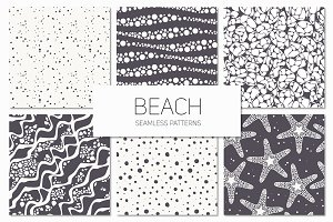 Beach. Seamless Patterns Set