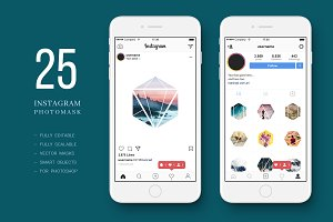 25 Hexagonal Photo Masks. Instagram