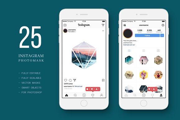 25 Hexagonal Photo Masks Instagram