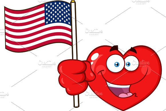 Red Heart Holding An American Flag
