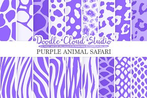 Purple Animal Safari digital paper