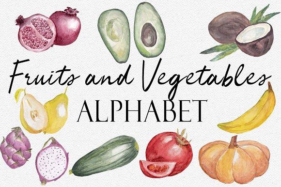 Set Fruits Alphabet And Patterns