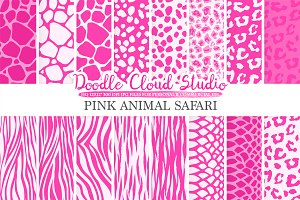 Pink Animal Safari digital paper