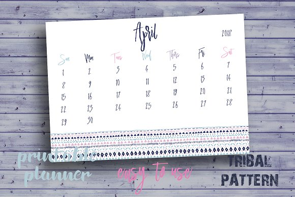 Cute Monthly Planner For April 2018