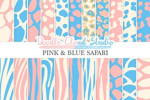 Pink and Blue Animal Safari