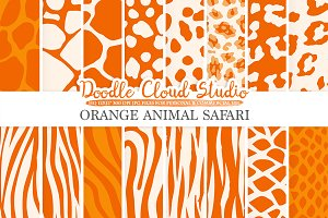 Orange Animal Safari digital paper