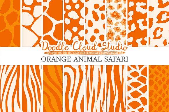 Orange Animal Safari Digital Paper