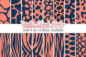 Navy and Coral Animal Safari digital