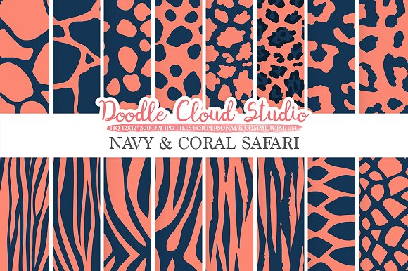 Navy And Coral Animal Safari Digital