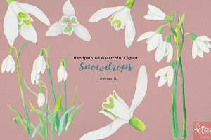 Watercolor Wedding Snowdrops