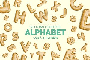 Gold foil balloon - Alphabet + Extra