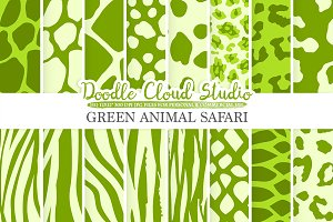 Green Animal Safari digital paper
