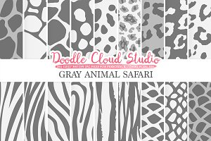 Gray Animal Safari digital paper