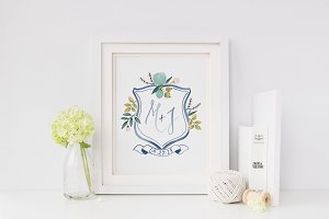Blue Floral Watercolor Crest