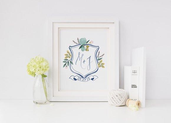 Blue Floral Watercolor Crest