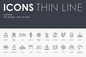 Buddhism thinline icons