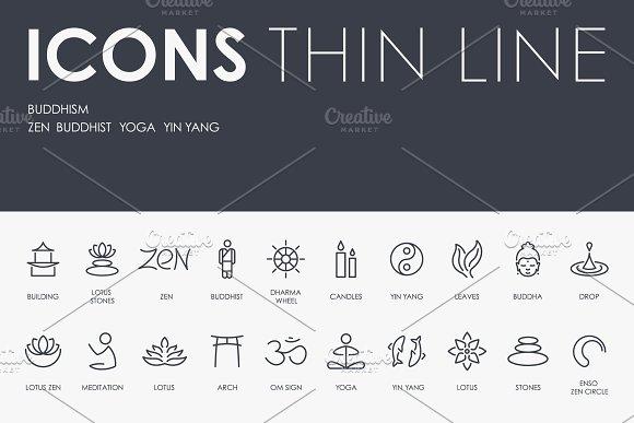 Buddhism Thinline Icons