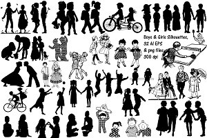 Boys & Girls Silhouettes AI EPS PNG
