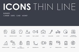 Business thinline icons